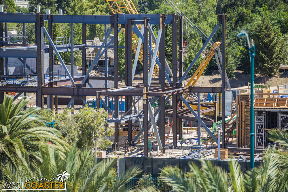They're clearly aiming for this to be the new premiere and super advanced Disney attraction.  Also, this section has an inordinate number of braced frames in multiple directions--an indication of a narrow part of the building that needs more lateral resistance.