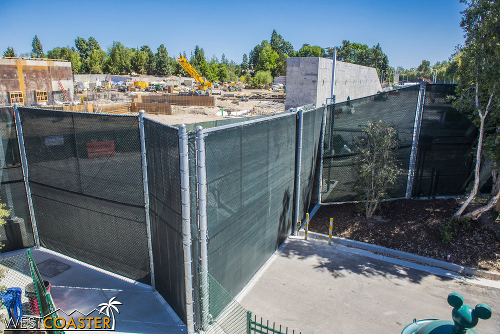 Lets glance in the direction of Critter Country.  That wall has been up for a while but hasn't been extended.  My guess is that the groundwork they're laying now will eventually tie into the already freestanding wall.