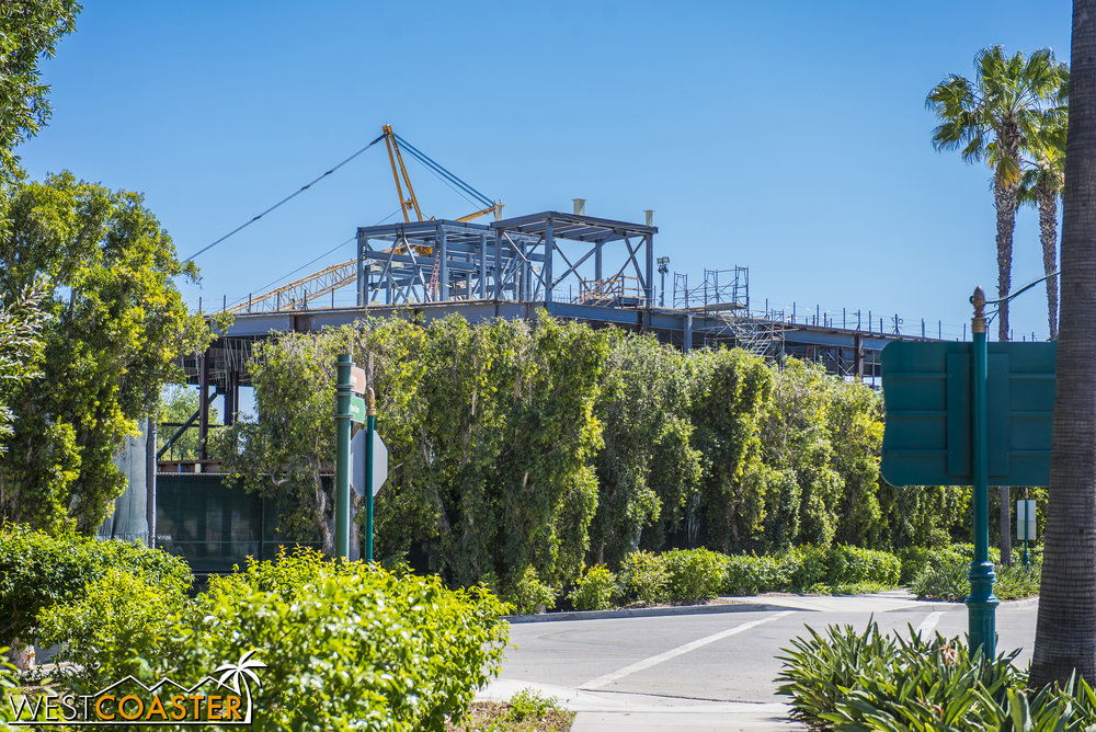 And one more angle, looking southward along Disneyland Drive to see how building is rising above the fencing into public view.