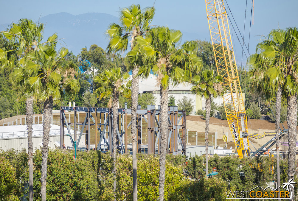 "The Millennium Falcon attraction has gone vertical, with several braced frames and steel structure being erected on the future pedestrian side of ""Star Wars"" Land."