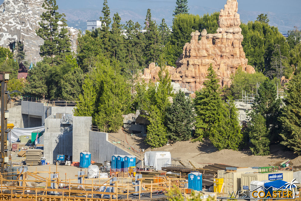 "The berm around the ""Star Wars"" Land entries looks pretty similar."