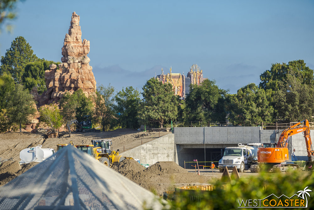 A closer-to-ground level look at one of the tunneled main entries.  If you thought entering Cars Land through Pacific Wharf was epic, imagine this approach!
