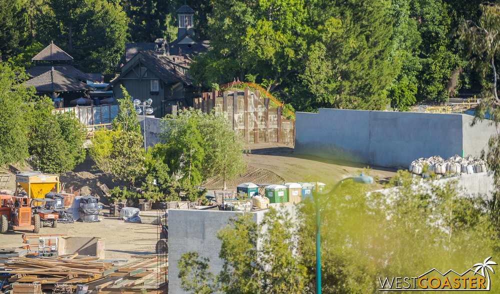 "The earth has gotten more graded.  You can also see a bit of the bridge that will continue the Disneyland Railroad over the Critter Country entrance into ""Star Wars"" Land."