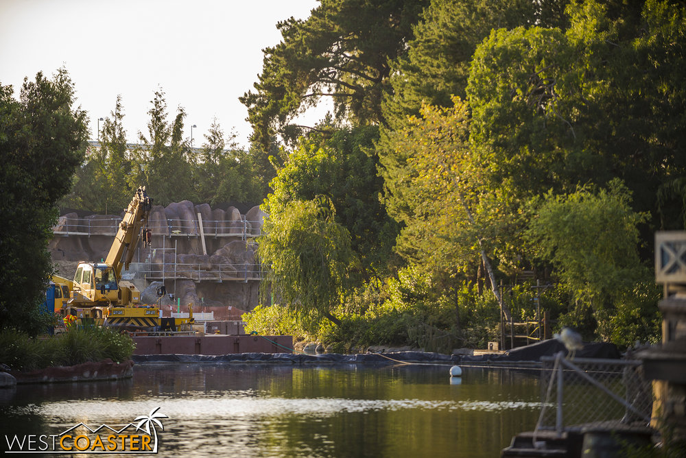 Another milestone has occurred over where the Rivers of America is dammed.
