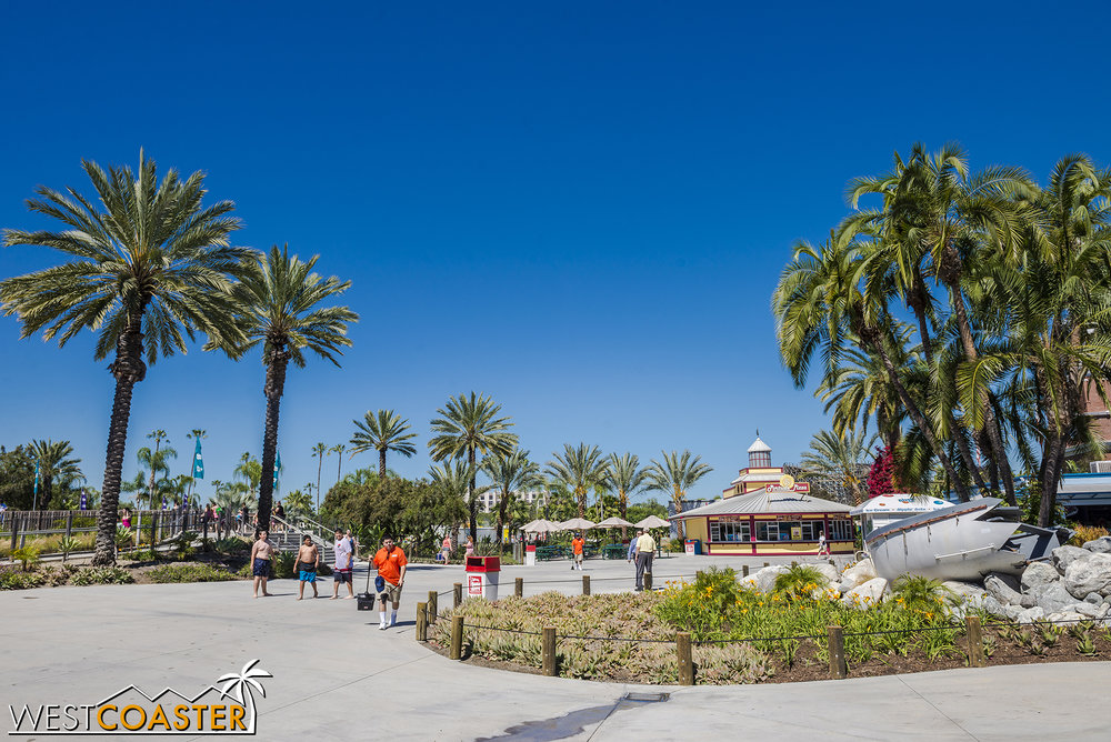 This plaza area is sort of the hub of the park, with pathways that lead to various different zones.