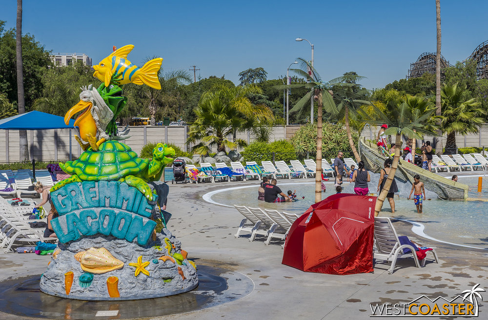 Gremmie Lagoon offers more child-friendly amenities and attractions, with wading-level pool play areas and miniature slides and climbing features.