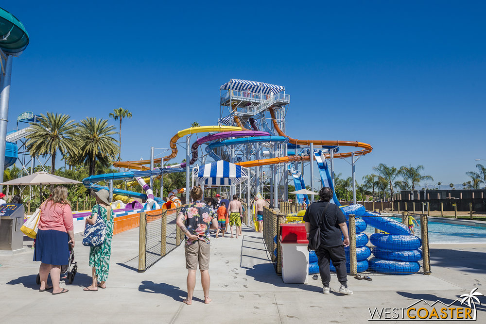 Shore Break is a collection of six water slides located both right next to the entrance and at the far back northeast corner of the park.