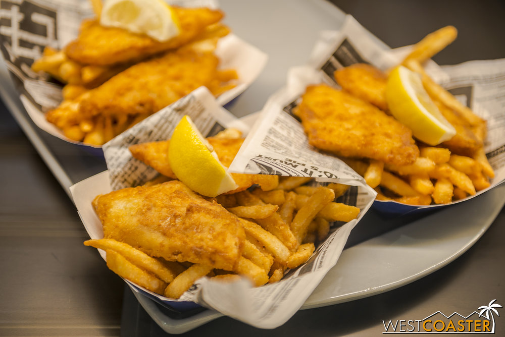 Food is traditional fare, such as these fish and chips.