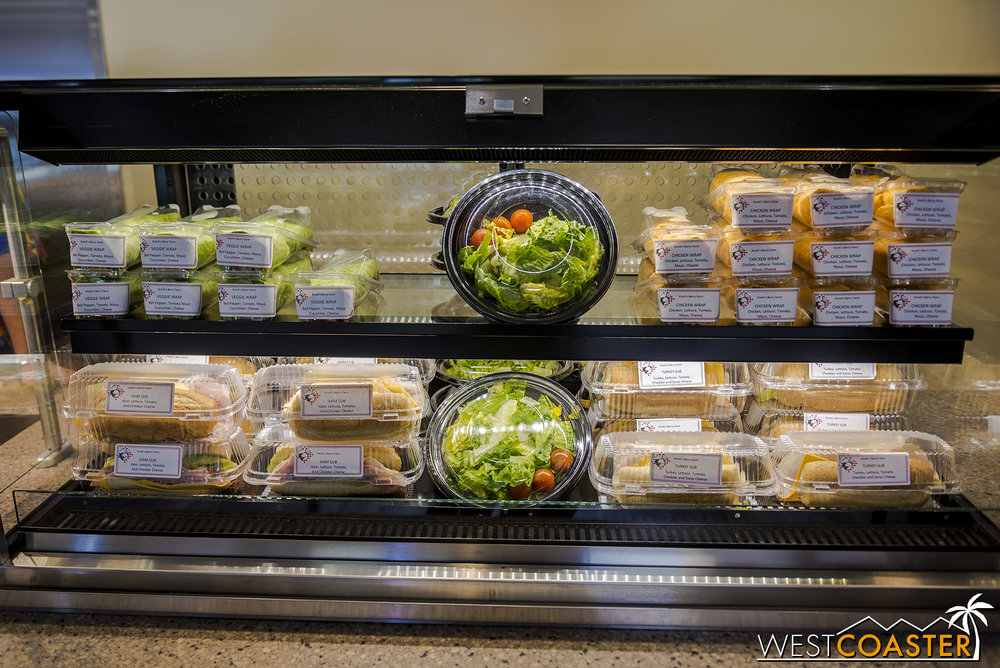 Those looking for healthier alternatives can find pre-packaged salads and sandwiches.