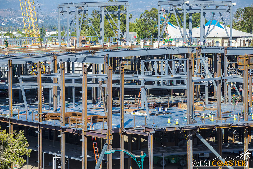 Secondary steel framing for the ride's stagecraft is also going up on both levels.