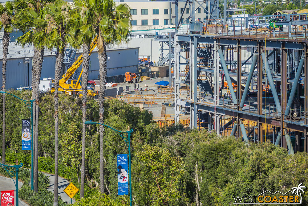 Meanwhile, looking further behind, we can spy the foundations for the Millennial Falcon ride.