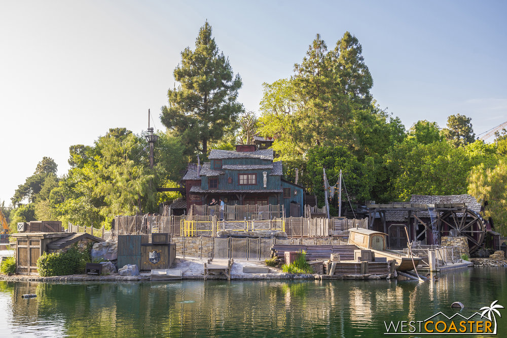 Workers were on hand Friday to work on the FANTASMIC! stage area of Tom Sawyer Island.