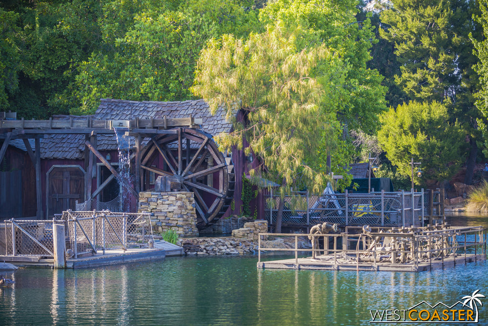 The water wheel to the right was also running.