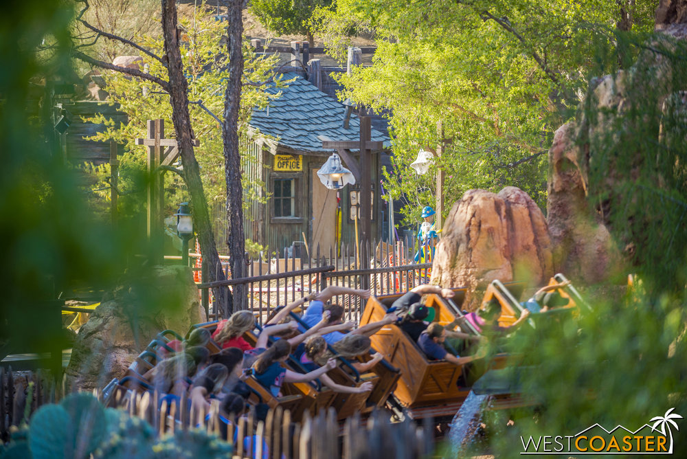 The view to Big Thunder Trail is getting more and more obstructed, but here's a small view corridor that shows what's upcoming.
