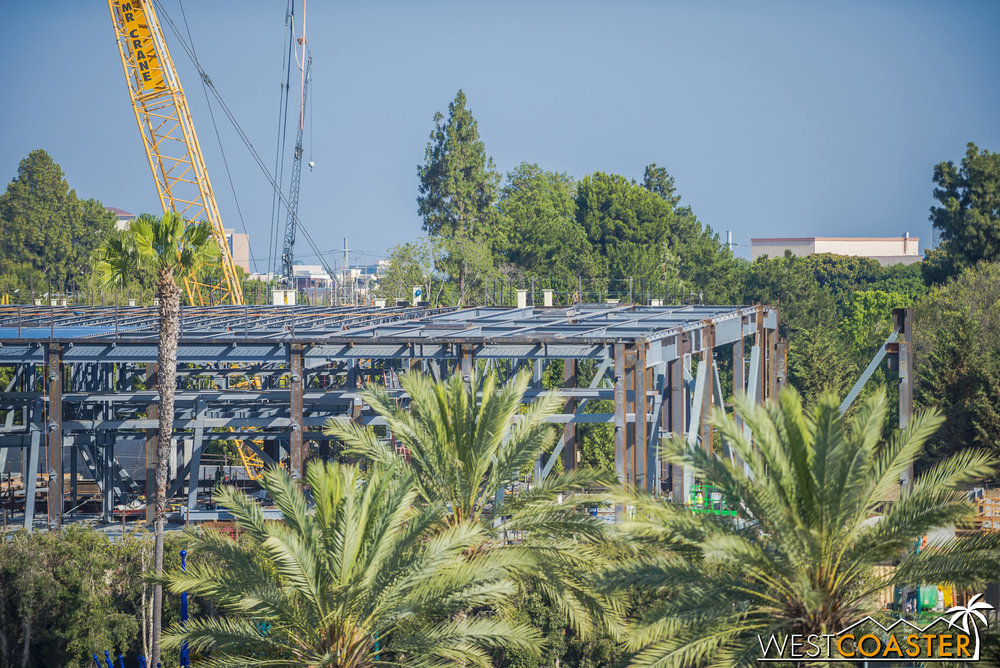 Meanwhile, the primary steel framing is moving further and further south (to the right).