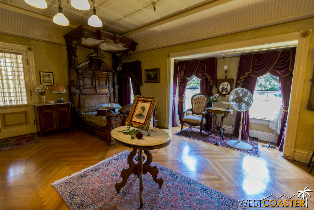 This was Sarah Winchester's actual bedroom.  (Fan not period-specific.)