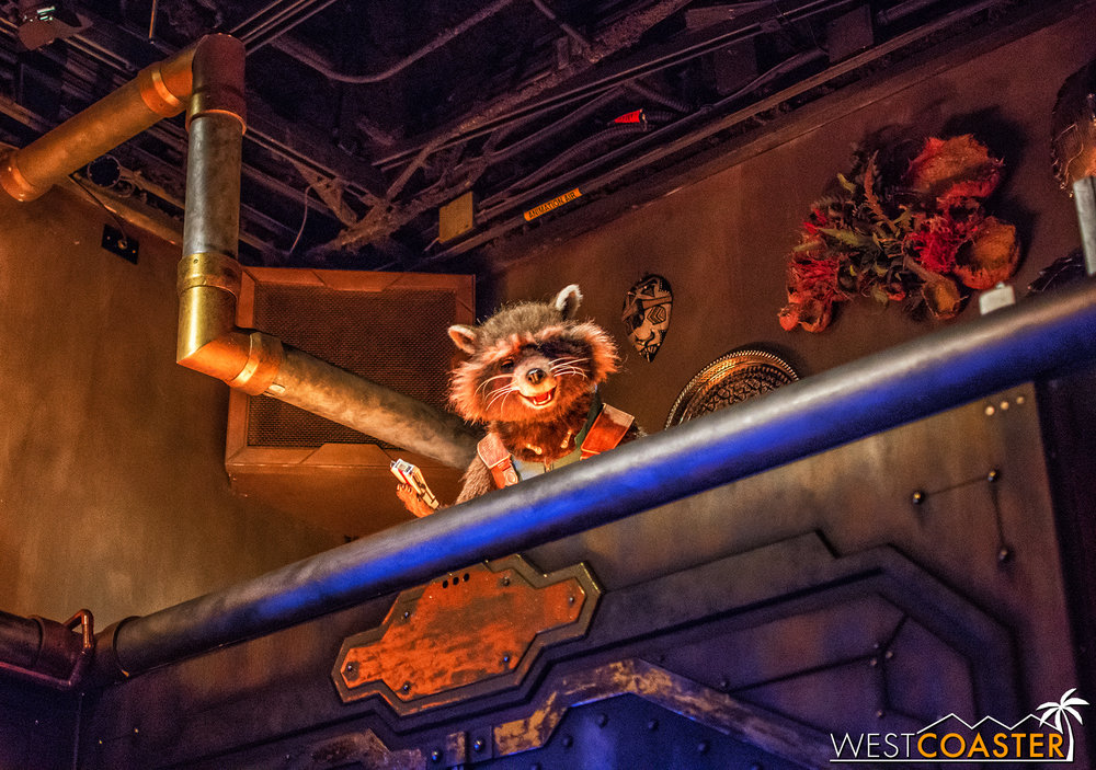 The preshow features a pretty incredible Rocket Racoon animatronic.  This takes the place of the old library/study scene in Tower of Terror and lays out the plot of the ride.  (Photo courtesy of Brandon Joseph of   DizFeed  .)