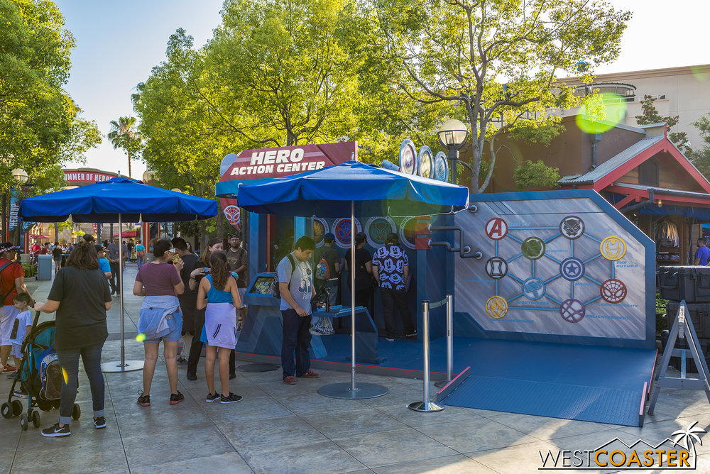 There's also a little Hero Action Center where you can take a test, determine a superhero character for you, and get comic books and stickers.