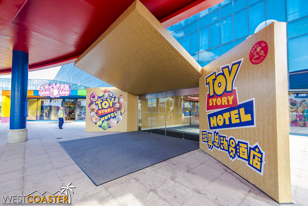 Entrance to the Toy Story Hotel.