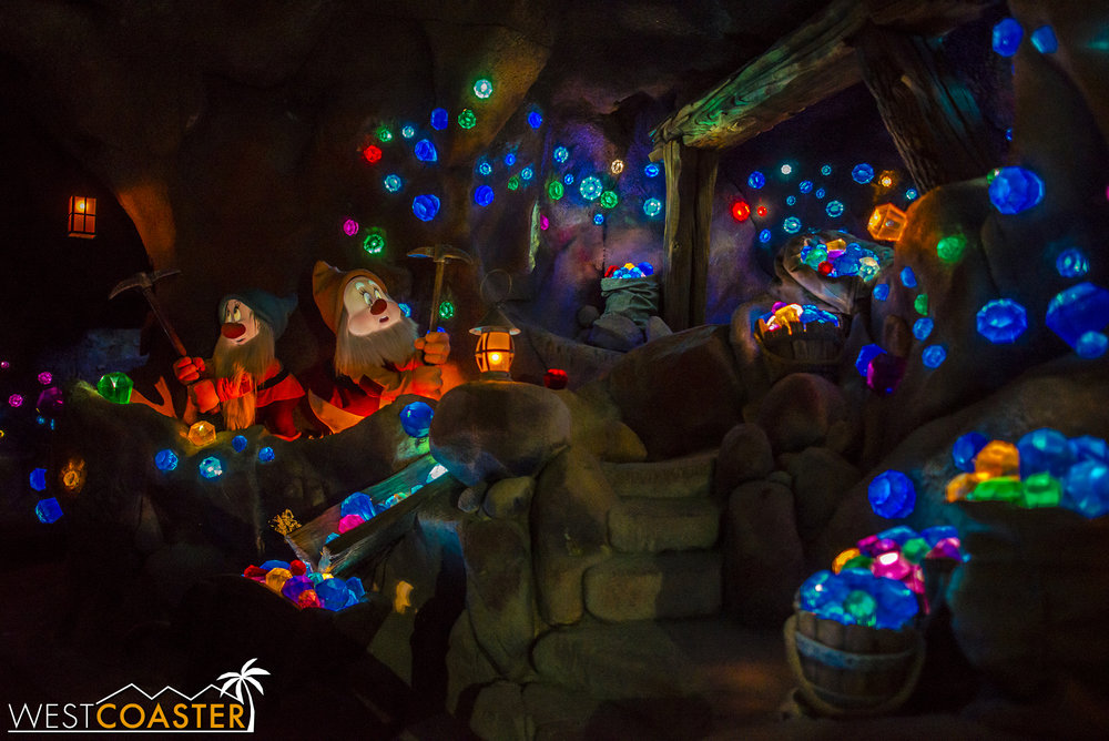 Inside the Seven Dwarfs Mine Train.