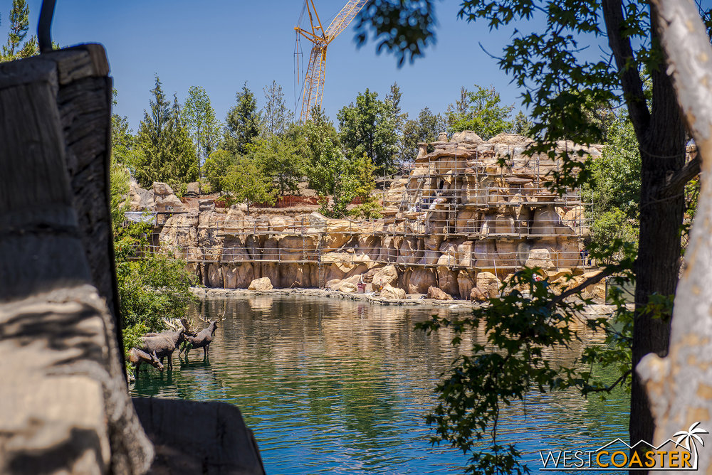 The re-routed part of the Rivers of America is getting new rockwork to blend into the Big Thunder Trail portion.