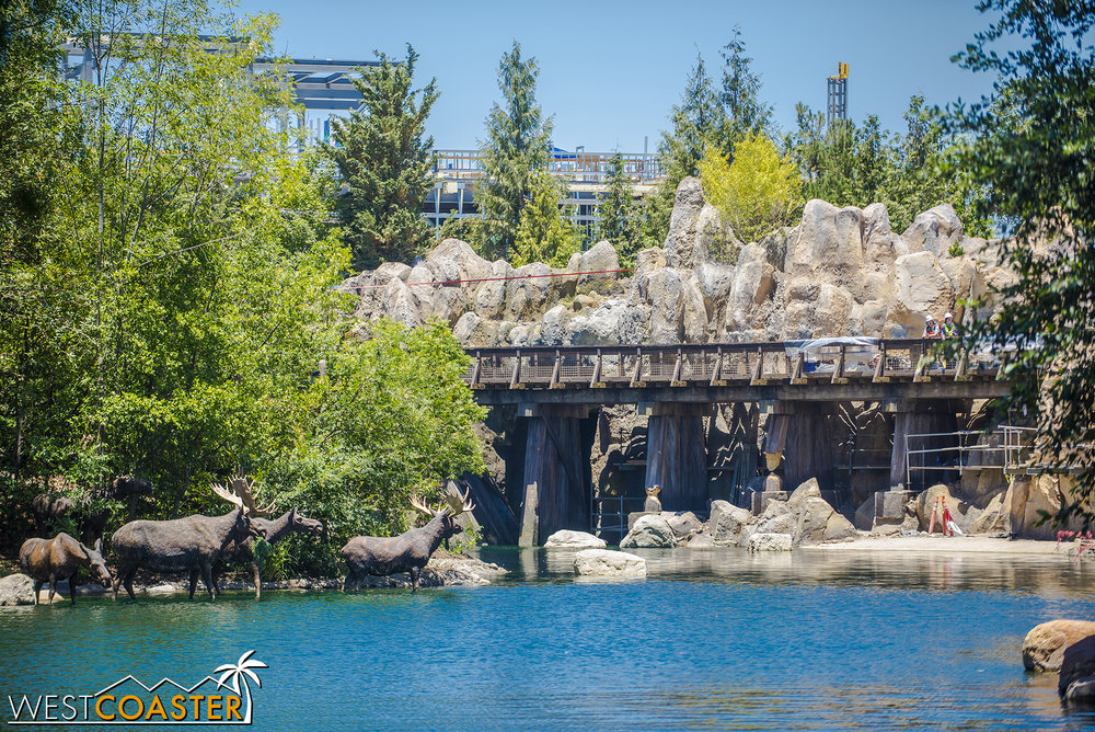 The lovely trestle will carry the Disneyland Railroad past waterfalls and boulders.