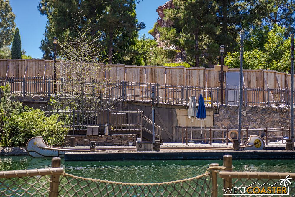 Nothing going on at the Davy Crockett Canoes.  They're largely ready to go, but obviously cannot reopen until the Rivers of America is fully complete.