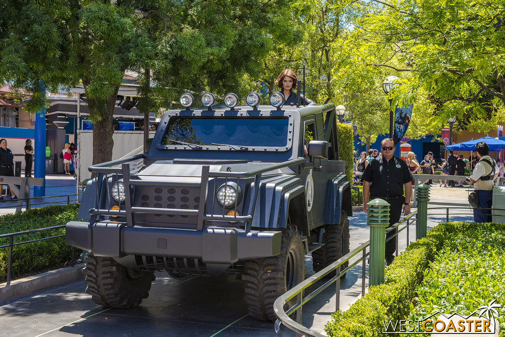 Shortly before each Training Initiative show, the Avengers show up in a humvee to hype it.