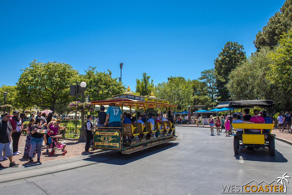 Crowds were light enough at noon and afternoon that they could still run the Main Street Vehicles and Streetcars.
