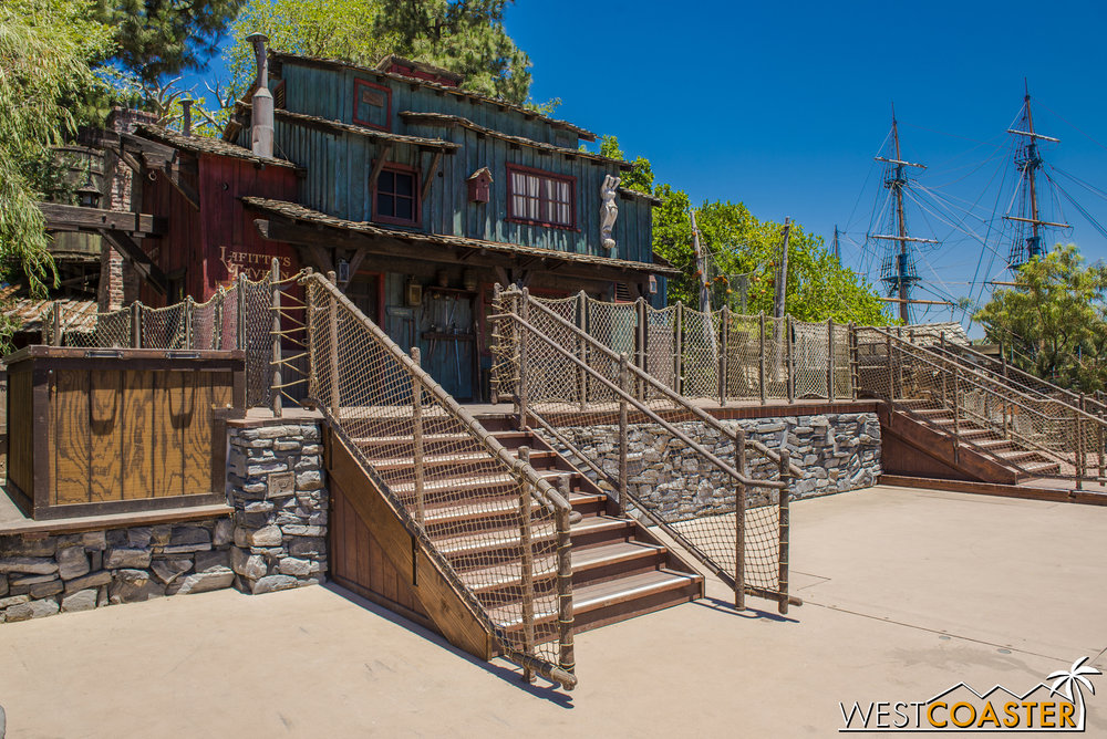 After taking the rafts across the Rivers of America to Tom Sawyer Island, we check out the FANTASMIC stage area in front of Lafitte's Tavern.