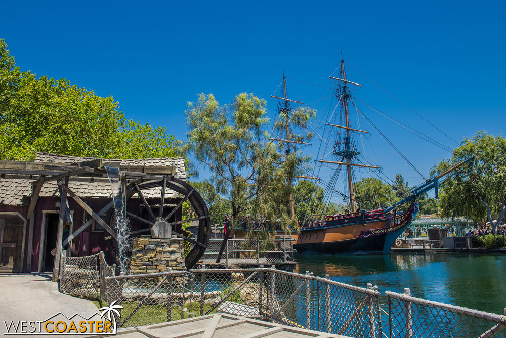 The water wheel is still here, and the Columbia has taken up dock at Frontier Landing on the other side of the water.