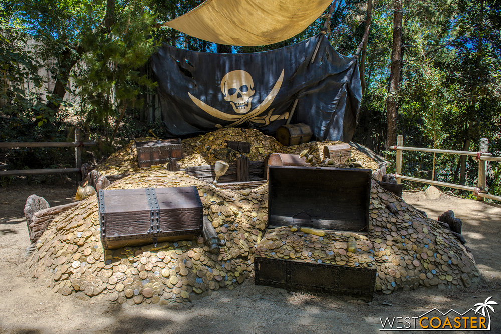 The pirate treasure photo op at the back of Tom Sawyer Island.