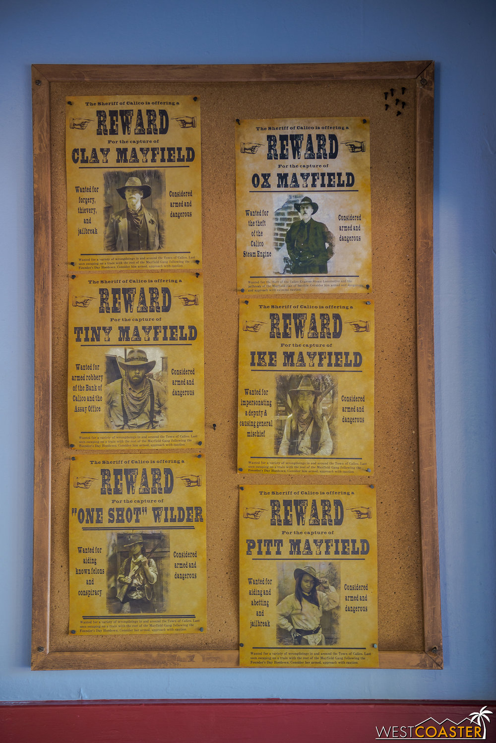 "Wanted posters for the Mayfield clan.  I didn't see Pitt or ""One Shot"" during my visit.  And Ox remains at large."