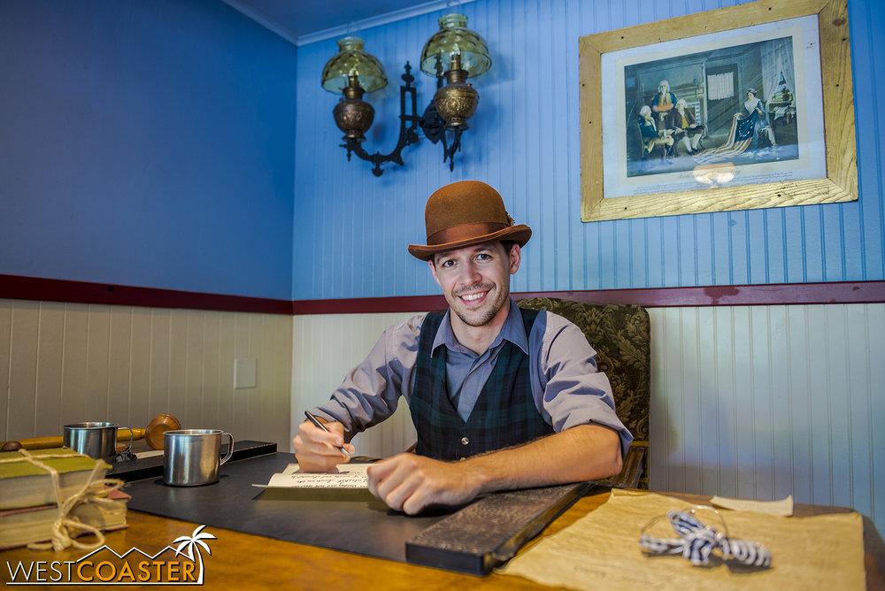 "Town clerk, Kenny Storm, ""hard at work."""