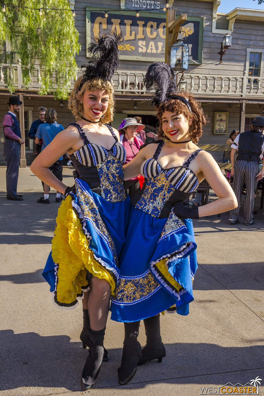 The famous Saloon can-can girls, Dixie and Trixie, are quite popular.