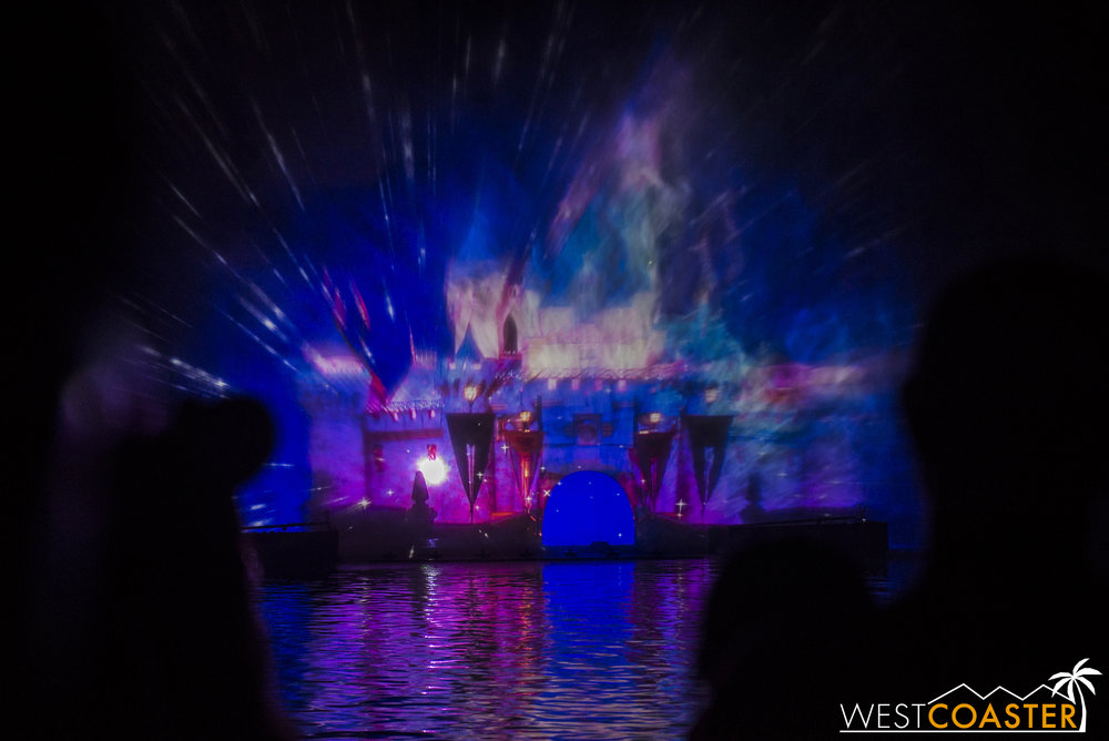 When you can't watch fireworks in front of the actual Sleeping Beauty Castle, here's a projected version!