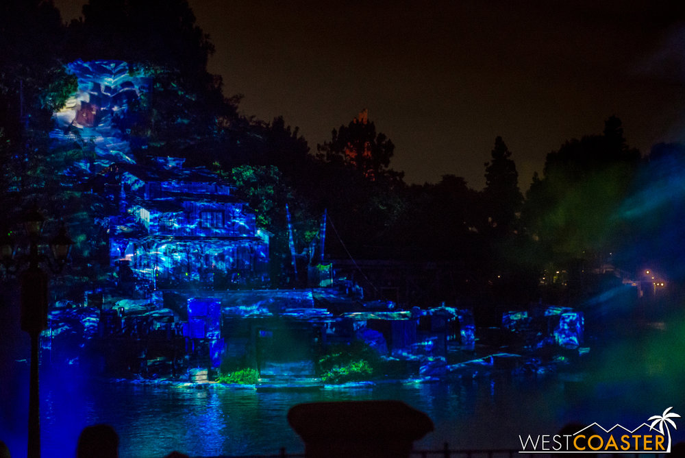 Visually, the  Pirates  sequence is also spectacular, with vivid projections on the stage and quite the flurry of activity on the boat.