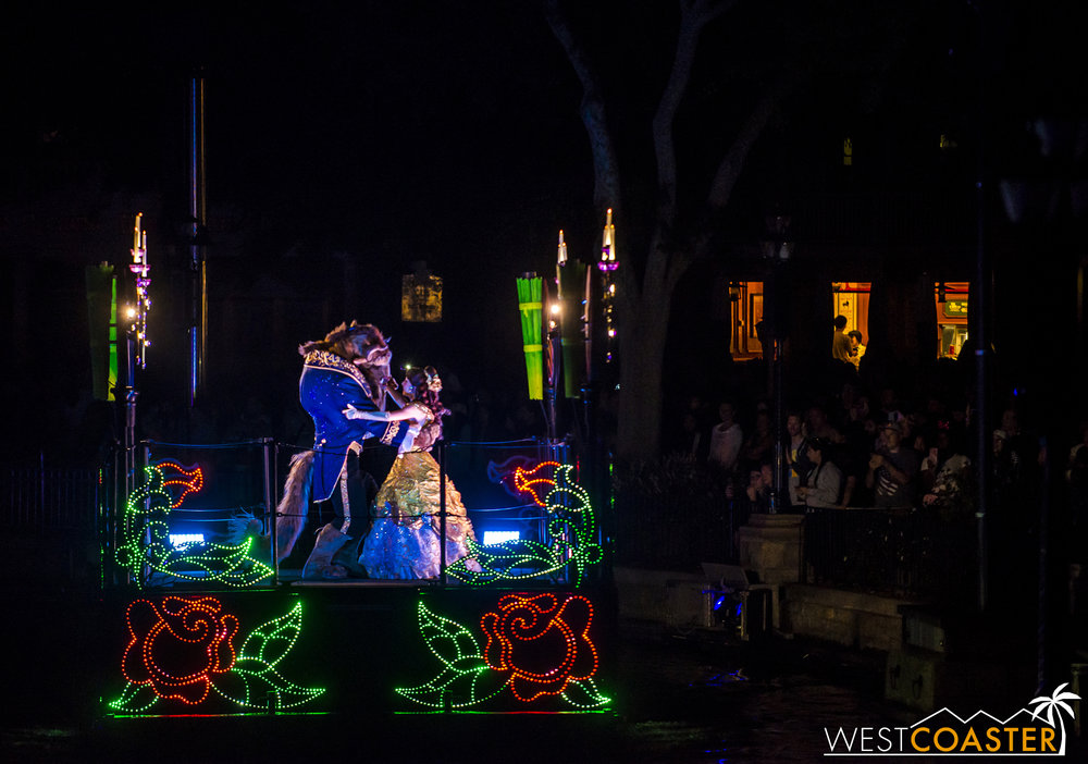 We settle back into familiar territory with the introduction of the fairy tale couples in their colorfully illuminating barges.