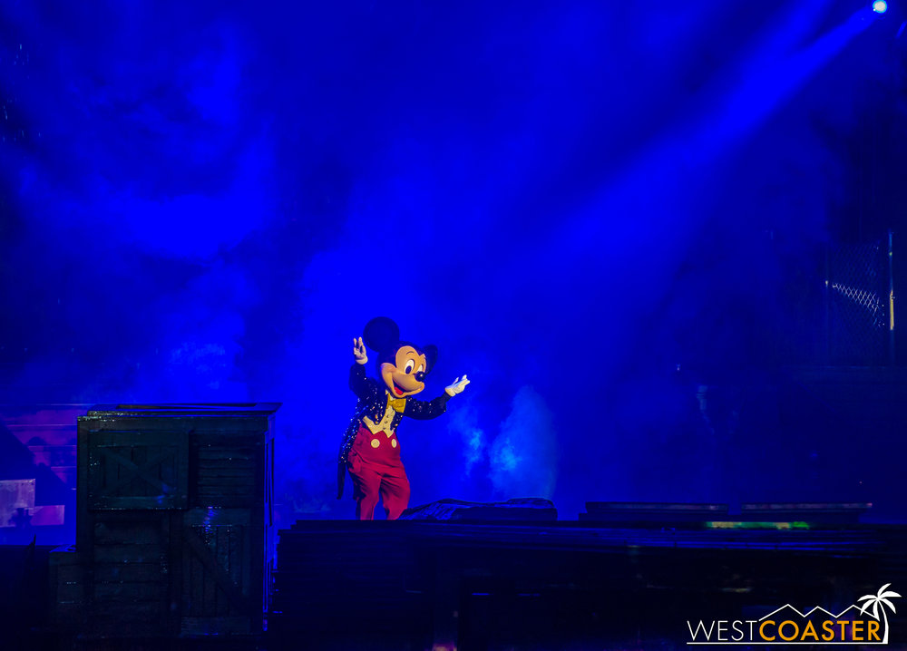 Of course, everything comes to a head when Sorcerer Mickey disappears from the top of the roof and reappears as regular Mickey.