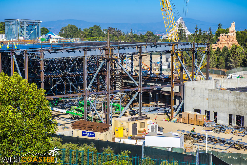 The steel framework for the main First Order building looks just about completely built out.  At least for the building footprint.