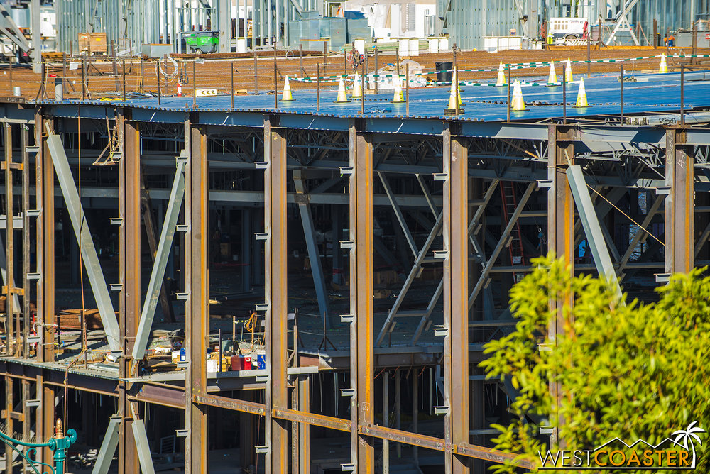 More steel framing to support various sets and ride elements inside the structure.