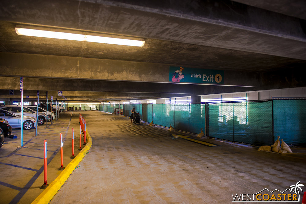 This area on all six levels has been blocked off, though pathways have been retained to maintain access to the elevators and escalators.