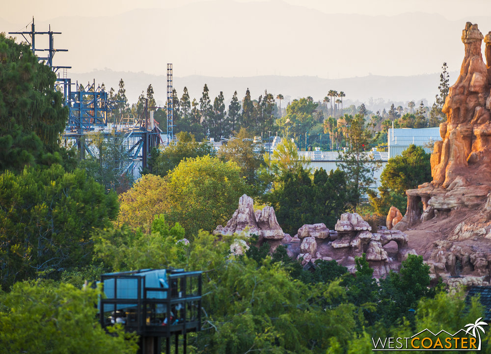 Even from inside the park, Star Wars: Galaxy's Edge structure is starting to become unavoidable.