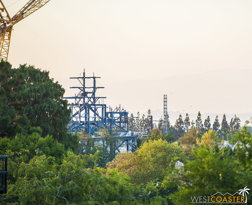 Eventually, this will be covered over to look like mountains from a distance.  So there will be an additional visual layer that will actually blend quite well with the rustic nature of Frontierland and the Rivers of America!