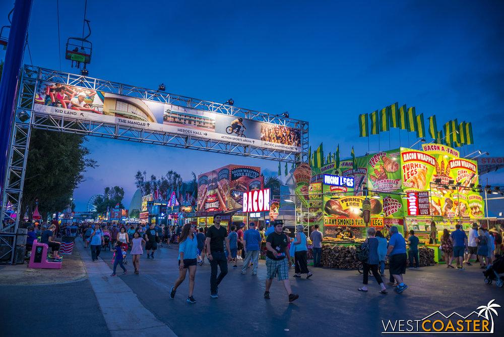 Blue hour descends on the OC Fair.