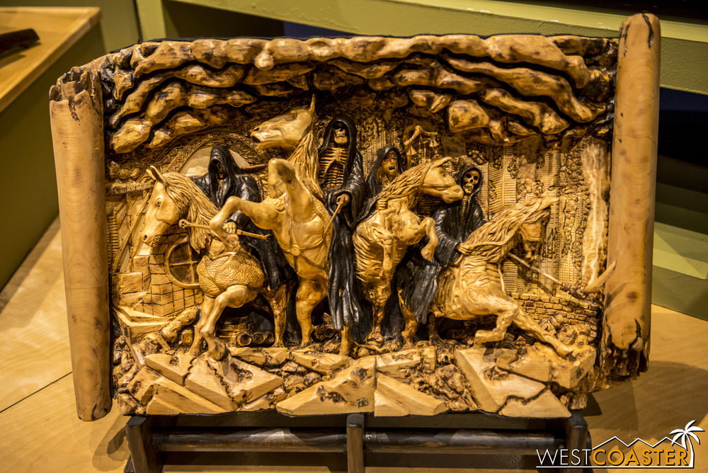 This Four Horsemen of the Apocalypse wood carving was extremely impressive.