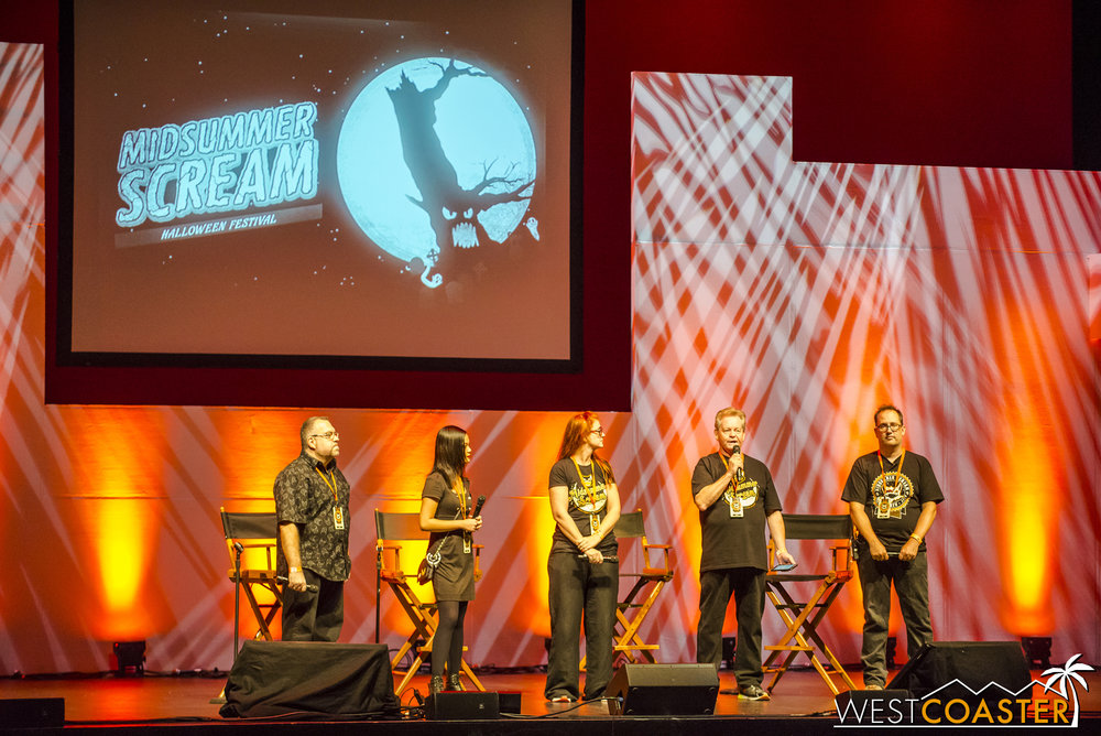 Before the panel started, the Midsummer Scream creative team says a word of thanks to all the attendees.