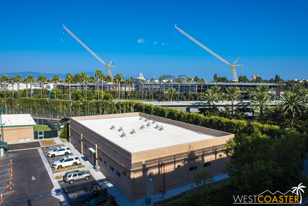 "For the first time since we started doing these ""Star Wars"" Land updates, we do not have our sweeping panorama from the southeast corner of the Mickey and Friends Parking Structure.  Instead, we get an overview from the northeast side."