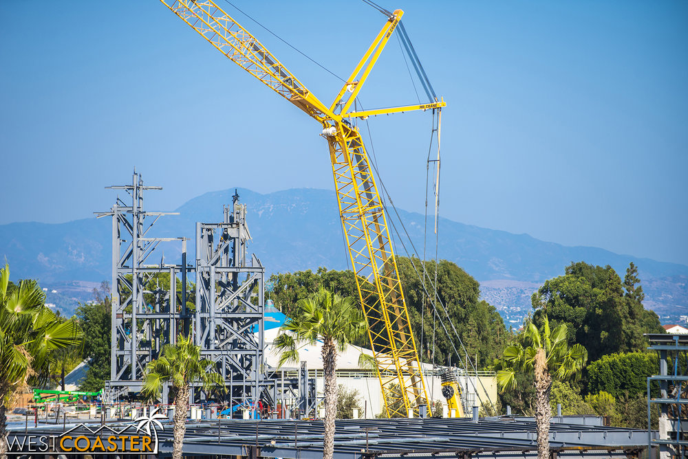 For those of you who have forgotten or have never seen the Cars Land Cadillac Range steel framing, this will eventually look similar, as the mountains of Galaxy's Edge form.