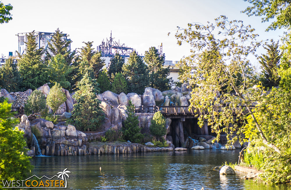 You can see one penthouse of the First Order ride building and the framing for the eventual mountains rise up.